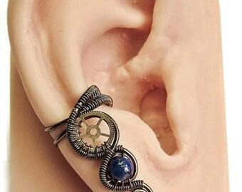 Lapis Lazuli & Bronze Small Steampunk Ear Cuff - Steampunk Jewelry
