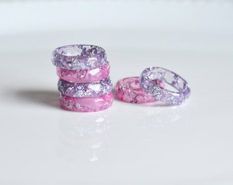 Stacking rings, lavender pink, ring, set of rings, eco resin jewelry, resin ring