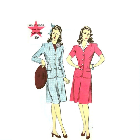 Vintage 1940s Suit Pattern Size 14 Bust 32 Hollywood 1217