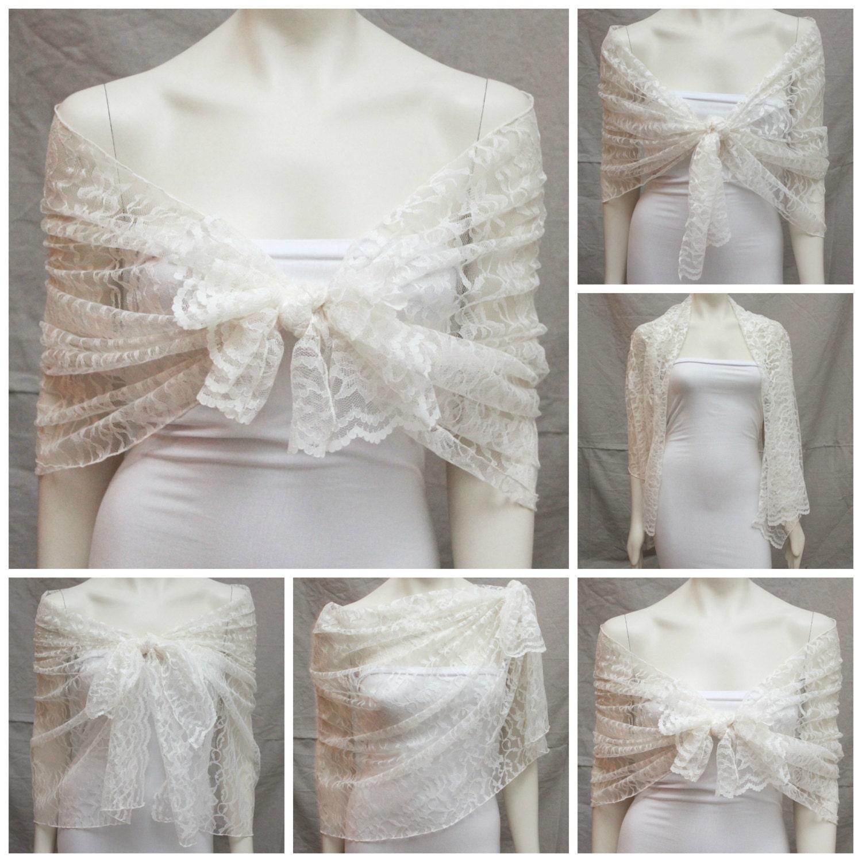 Wedding Gown Wraps: Items Similar To Ivory Lace Shawl Bridal Dress Shawl Stole