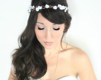 Tiny Rustic Flower Crown, woodland wedding, bridal accessories, wedding hair, tiara, white,flower halo- JANELLE - by DeLoop