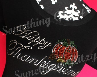 Happy Thanksgiving Rhinestone Tank Top, Tee or LS Tee