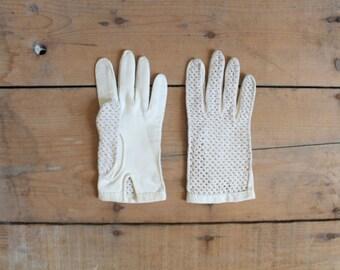SALE! Cream Crochet and Cotton Gloves
