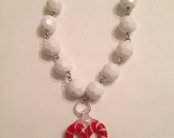 Candy Cane Heart Holiday Beaded Necklace