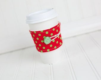Coffee Sleeve Cozy Red Green Polka Dot Print Unisex Reusable Cup Cover Great for Ugly Christmas Sweater Party