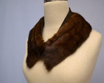 1950s Brown Mink Fur Collar