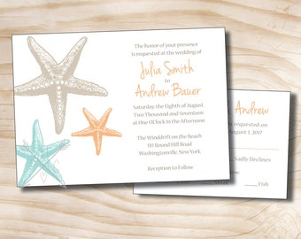 ELEGANT STARFISH Tropical Beach Wedding Invitation and Response Card Invitation Suite