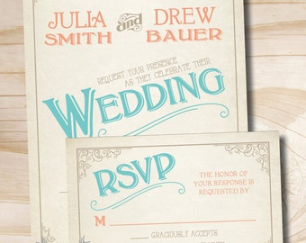 VINTAGE SCROLL POSTER Rustic Wedding Invitation Response Card printed sample set