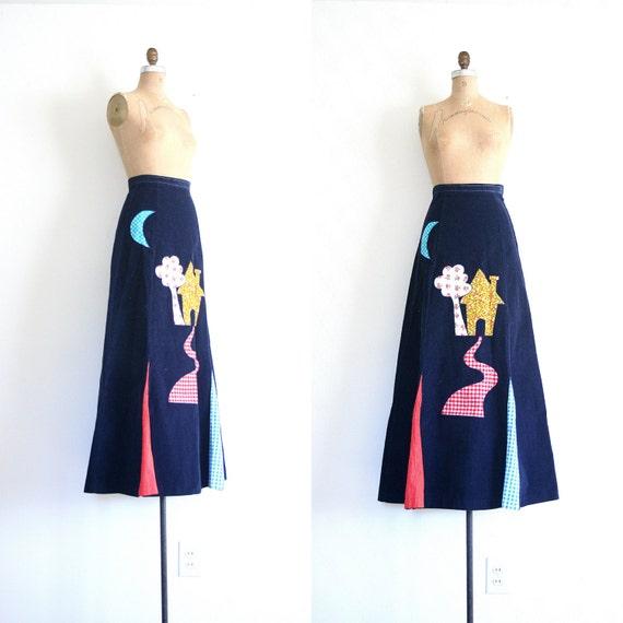 vintage maxi skirt - corduroy / Calico & Gingham - applique / vintage 70's - hippie