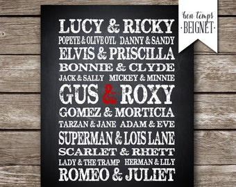 Famous Couples - Personalized PRINTABLE Keepsake - Valentines Gift - Wedding Gift - Anniversary Gift - Bridal Shower Gift - Engagement Gift