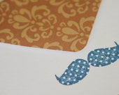 Set of 3 Stationery - Navy Blue Mustaches with Brown Designs - Mustaches