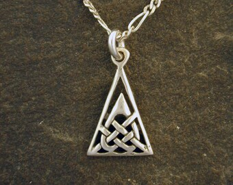 Sterling Silver Celtic Triangle Pendant on a Sterling Silver Chain