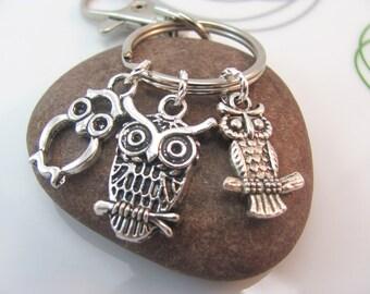 Owl Keychain silver owl keyring Three mini owls charms with swivel clasp owl bag charm metal owl keychain