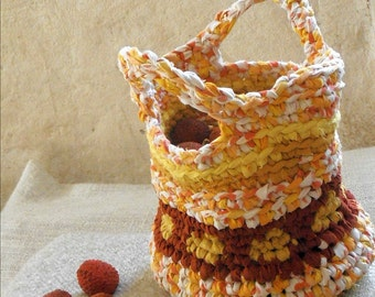 Rag crochet  bag or basket upcycled fabric scraps summer bliss orange yellow tapestry crochet basket  with two handles