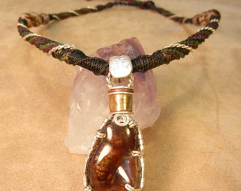Fire Agate Silver Wire Wrap Necklace on Micro Macrame Cord--Regal and Masculine