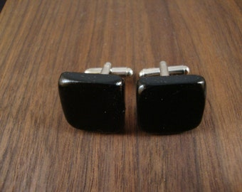 Men's Wooden Cuff Links - Black Ebony Wood - Wedding, anniversary, any Special Occasion