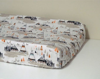 Baby Changing Pad Cover - Contoured - Indian Summer Woodland Oak - in White, Taupe, Dark Navy, with touches of Orange and Dusty Blue