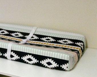 Baby Changing Pad Cover - Arizona - Arid Horizon - Contoured - in Mint, White, Mustard, Peach, Dark Navy