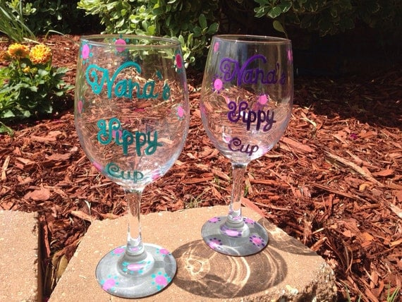 Nana's Sippy Cup painted wineglass