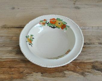 Vintage floral china shallow decorative bowl - Retro
