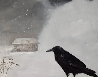 """Crow print 'Shelter', 11"""" x 11"""" (smaller sizes available)"""