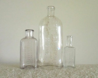 Antique Glass Medicine Bottles, Lydia E Pinkhams, Eddy and Eddy Chemists, Martin & Martin