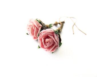 sweet rose earrings - romantic natural pink rose flower earrings