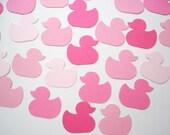 100 Pink Duckies Duck punch die cut confetti scrapbook embellishments - No840
