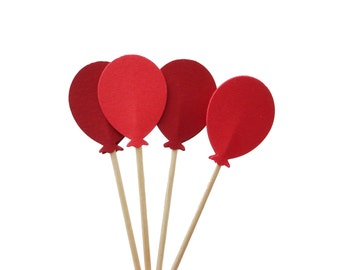 24 Mixed Red Balloon Cupcake Toppers, Birthday Party Decorations - No974