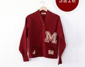 SALE vintage 50s cardigan sweater / School varsity sweater