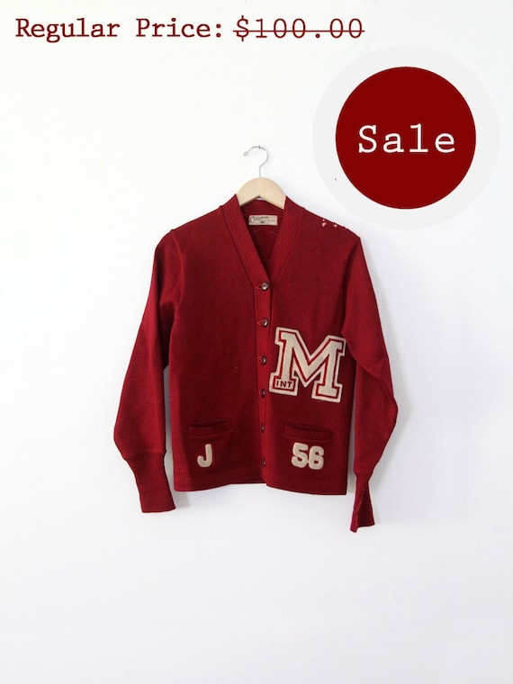 SALE vintage 50s cardigan sweater / School varsity sweater