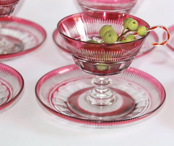 Pairpoint Cranberry Crystal Sherbet with Underplate, Set of 5