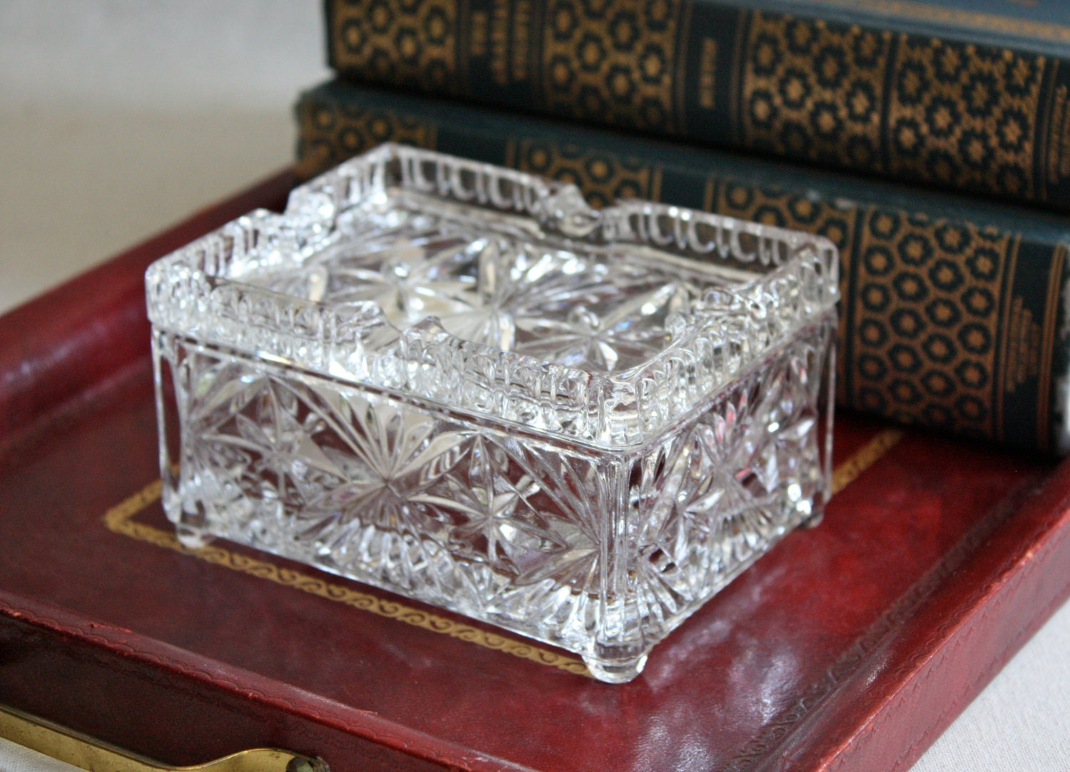 Vintage crystal cigarette box with lid by periodelegance on etsy
