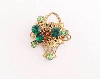 Emerald & Peridot Green Rhinestone Basket Brooch - vintage crystal rhinestones - Flower Basket brass - floral embossed spring patrick's