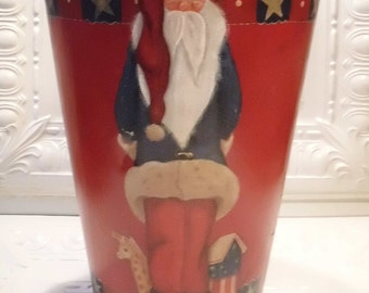 Vintage Sap Bucket Handpainted with Patriotic Santa - Great to hold small trees, centerpieces, or as waste basket