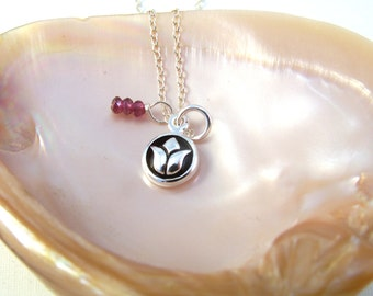 Sterling Silver Lotus & Pink Tourmaline Dangle Necklace-Yoga Jewelry-Zen gift