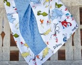 Dr. Seuss Minky Baby Blanket Designer Cat in the Hat Blue Orange Red - Name Available - Horton the Elephant