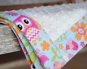 Minky Baby Blanket Owls Girl Pink Blue Orange Green - Name Available - Owl Sunburst