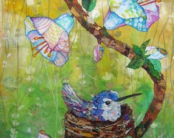 Nesting Hummingbird Print - Mixed Media Collage Print - 11 X 14 - Bird Collage - Bird's Nest - Hummingbird Collage - Lisa Morales