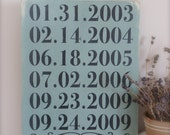 Personalized Date Sign, Important Dates Sign, Family Sign, Custom Date Sign, Anniversary Date, Birth Dates, Wood Wall Art, Wood Sign