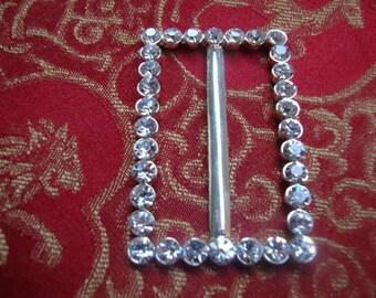 Glass Rhinestone Silver Tone Metal Buckles Jewelry Holiday Accessories Vintage Jewelry Belt Buckle Victorian Style Jewelry OC