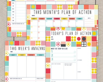 Printable Planning Organiser Pack Day Week Month Mid Century Colourful Grid Pattern