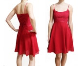 90s ballerina valentines red dress with corset back, size small