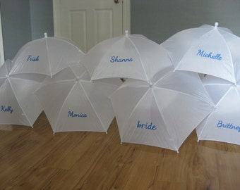 Bridal Party Hand Painted Rain Umbrella Pack- Personalized- Name- Monogram- Initial Baby or Wedding Shower- Choice of Colors Umbrella Paint