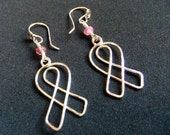 Breast Cancer Awareness Ribbons Pink Tourmaline Gemstone Earrings in Sterling Silver on French Ear Wires Donating to Fight Breast Cancer