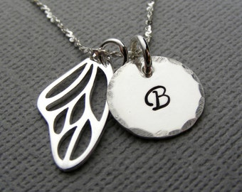 Personalized Monogram necklace - Initial necklace - Personalized initial jewelry - Butterfly necklace - Butterfly wing jewelry
