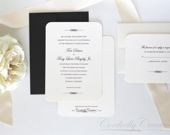 Traditional Scroll Wedding Invitation (shown in black and white, with RSVP Card) with a simple, classic design for a wedding or other event
