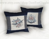 "Tattoo Throw Pillow Set (2) "" Live Free Live Bold "" on navy blue denim 14x14 inch sparrow nautical anchor rockabilly ink nautical cushions"
