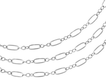 Sterling Silver 5.5x3mm and 2.2mm connecting rings Flat Fancy Chain - 5ft (2311-5)/1