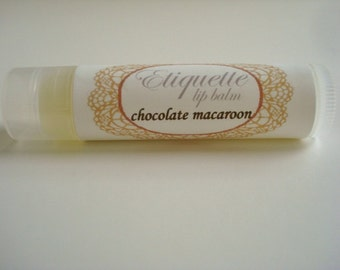 Chocolate Macaroon Lip Balm, lip butter, shea butter, avocado oil, cocoa seed butter